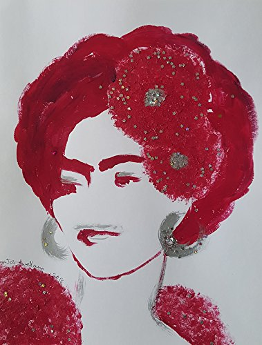 FRIDA KAHLO - IN RED - Abstract - POP - MEXICAN FOLK ART Style :: ORIGINAL PAINTING - Acrylics and Ink - Modern Painting on Heavy White Paper - SIZE:11''x8.5'' - Signed by the Artist by Santos Arellano - Art & Crafts