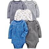 Simple Joys by Carter's Baby Boys 5-Pack Long-Sleeve Bodysuit, Blue/Grey, 6-9 Months