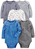 Simple Joys by Carter's Baby Boys 5-Pack Long-Sleeve Bodysuit, Blue/Grey, 3-6 Months