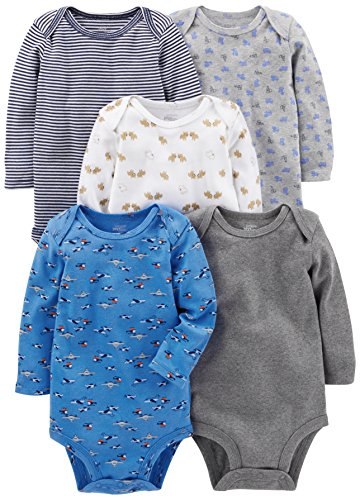 Simple Joys by Carter's Baby Boys 5-Pack Long-Sleeve Bodysuit, Blue/Grey, 0-3 ()