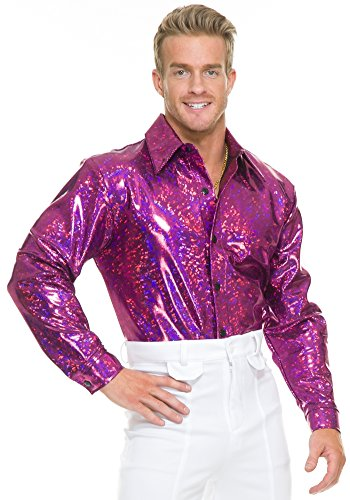 Night Lights Disco Shirt Adult Costume Pink - X-Large (Pink Pimp Costumes)