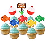 Gone Fishing Bobber Cupcake Toppers Kids Little Fisherman Birthday Party Cake Decoration Supplies 48pcs