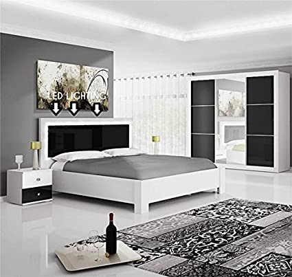 NEW MODERN BEDROOM FURNITURE SET \'ROMA\' WHITE AND BLACK ...