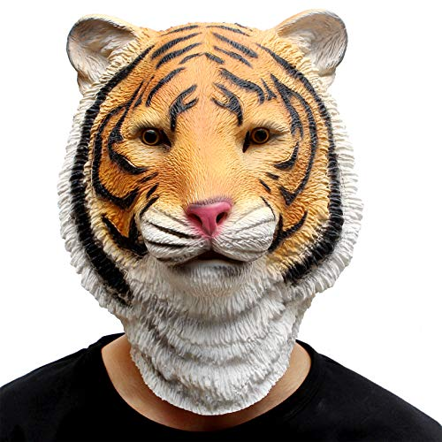 (CreepyParty Deluxe Halloween Costume Party Latex Animal Full Head Mask Tiger Yellow)