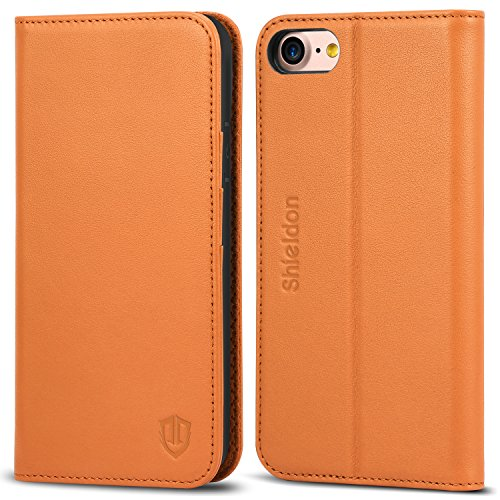 iPhone 8 Case, iPhone 7 Case, SHIELDON Genuine Leather iPhone 7 Wallet Case [Magnetic Closure] [Credit Card Holder] Flip Book Design Stand Folio Cover Case Compatible with iPhone 8 / iPhone 7 - Brown