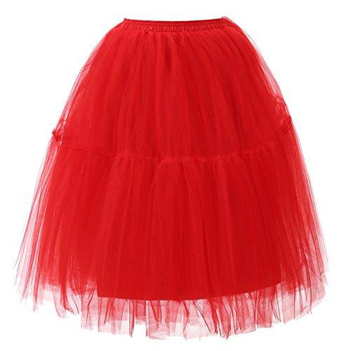Qualité Jupe De Plissée Esailq Danse Adulte Tutu Haute Womens Rouge Drapée Gaze qw7naEBX