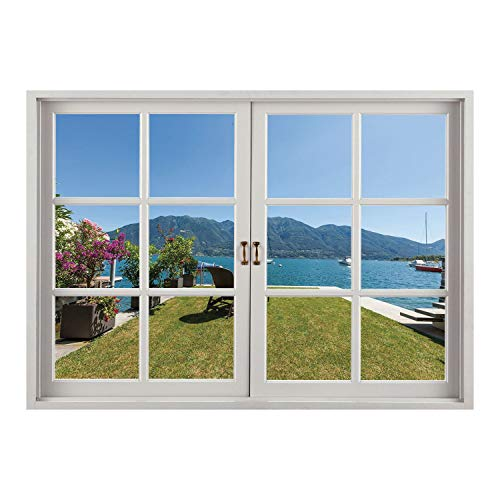 SCOCICI Window Mural Wall Sticker/Travel Decor,Outdoor Terrace Patio Flowers with Mountain Ocean Sea Scenery,Green Sky Blue and White/Wall Sticker ()