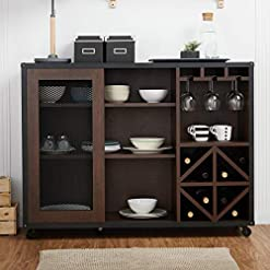 Kitchen Modern Transitional Sliding Door Buffet Sideboard Cabinet with Open Shelves Bottle and Wine Glass Storage – Includes… modern buffet sideboards