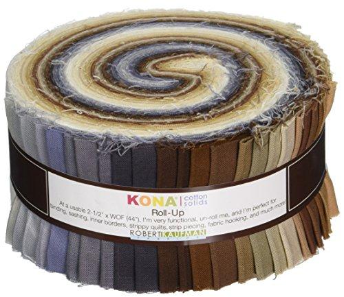 Robert Kaufman RU-233-41 2-1/2in Strips Roll Up Kona Cotton Solids Neutrals Palette 41Pcs