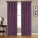 2 Piece Set RULEY Window Panels Embroidered Grommet Top Decorative Curtains, 54″x84″ & 54″x95″ (54″x95″, Purple) Review