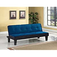 Color Block Futon Adjustable Sofa, Multiple Colors (Blue)