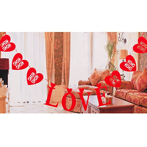 UOOOM Red LOVE Card Banners Heart-shaped Chinese Traditions Hi Word Hollow Bunting Banner Engagement Wedding Decoration Wall Sticker Proposal Romantic (Style A)