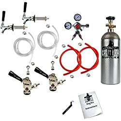 HomeBrewStuff Two Keg Door Mount Kegerator Draft Beer Tap Conversion Kit w/Sanke Couplers, Pro Series Regulator with Y Splitter, and 5 LB Co2 Tank 2CH-2D-PRY-T
