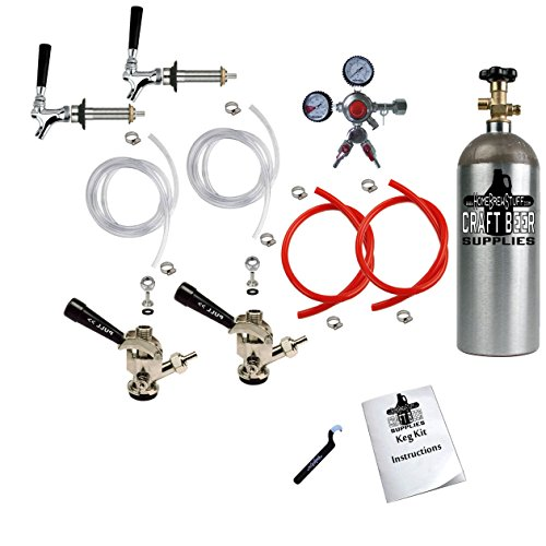 HomeBrewStuff Two Keg Door Mount Kegerator Draft Beer Tap Conversion Kit w/ Sanke Couplers, Pro Series Regulator with Y Splitter, and 5 LB Co2 Tank 2CH-2D-PRY-T by Home Brew Stuff