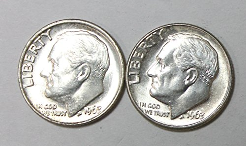 (1963 P & D 90% Silver Roosevelt Dimes Gem Brilliant Uncirculated)