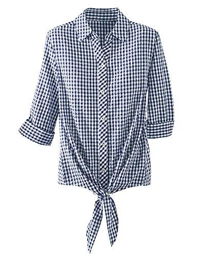 (National Seersucker Tie-Front Shirt, Navy, Petite Large)
