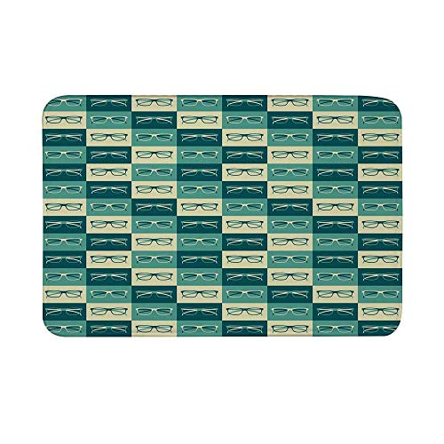 - Indie Non Slip Door Mat,Pattern with Eyeglasses in Vintage Style Hipster Cool Collection Decorative Floor Mat for Bathroom Living Room,23