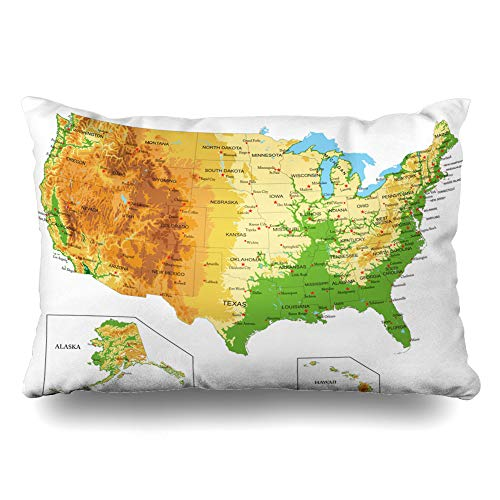 Ahawoso Decorative Throw Pillow Cover Standard 20x26 Hill California United Arkansas States America Physical Map Abstract Nevada Relief Idaho Philadelphia Zippered Pillowcase Home Decor Cushion Case (Idaho Relief Map)