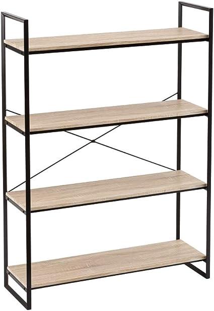Estantería con 4 estantes de Metal y PVC Negra Industrial de ...