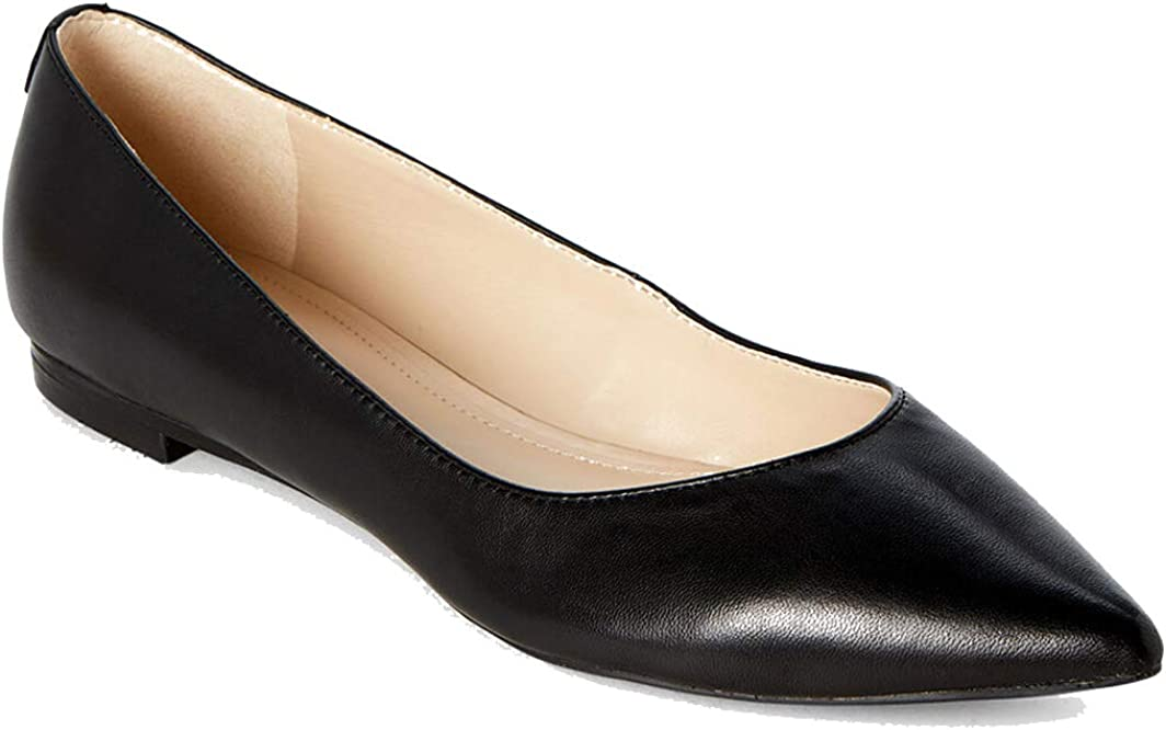 Alany-M Black Leather Pointed Toe Flats