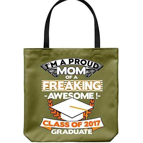 I'm A Proud Mom Tote Bags, Class Of 2017 Graduate Canvas Tote Bags (Tote Bags - Forest) ()