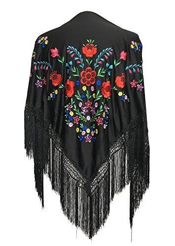 La Senorita Spanish Flamenco Dance Shawl Black with various colored flowers