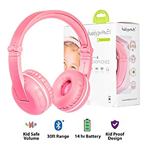 BuddyPhones Play, Wireless Bluetooth Volume-Limiting Kids Headphones, 14-Hour Battery Life, 4 Volume Settings of 75, 85, 94dB and StudyMode, Includes Backup Cable for Sharing, Pink