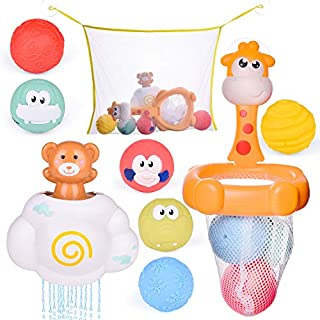 FUN LITTLE TOYS Toddler Bath Toys, Basketball Hoop Set for Kids with 6 Cute Soft Bath Balls, 1 Cloud Water Toy and 1 Organizer