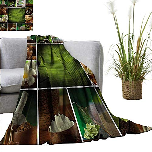 Spa Home Throw Blanket Collage of Candles Stones Herbal Salts Towels Botanic Plants Design Print All Season Premium Bed Blanket 40
