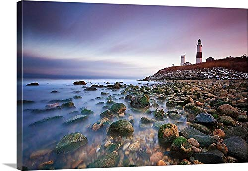 Dwi24isty Canvas Print Canvas Art Wrap Montauk Lighthouse Seascape Photography Long Island New York Coastal Beach Photo Print Purple Pink Brown White Bedroom Bathroom Decoration Wall Art Wall Decor