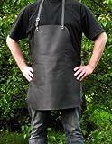 Echt Leder Grillschürze - Kochschürze - Lederschürze - Kellnerschürze - Bistroschürze - Arbeitschürze, verstellbare Beriemung, schwarz, feuchtigkeitsabweisend