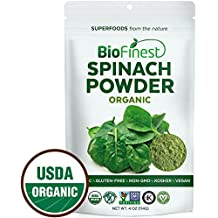 Biofinest Spinach Powder - 100% Pure Freeze-Dried Antioxidants Superfood - USDA Organic Vegan Raw Non-GMO - Boost Digestion Detox Immune System - For Smoothie Beverage Blend (4 oz Resealable Bag)
