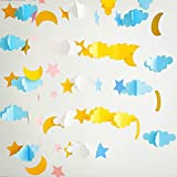 5 Pcs Moon Star Cloud Garland 3D Pink Gold Blue Paper Garlands Hanging Decorations for Wedding Baby Shower Birthday Party by AZOWA (Blue and Gold)