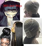 360 Lace Frontal Wig Pre Plucked 150-180% Desntity Brazilian Virgin Human Hair Wigs 360 Lace Wig Straight Hair 360 Wigs Light Yaki Straight 360 lace wig pre plucked bleached knots 22 in 360 Wig