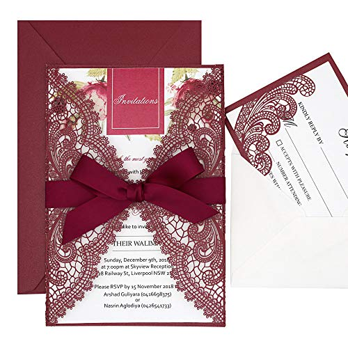 1 Set Burgundy Laser Cut Lace Wedding Invitation Sample with RSVP Cards,Burgundy Ribbon Bow and Envelopes Included, Elegant Invitation Cards for Wedding/Bridal Shower/Birthday Party, 125 x 185mm]()