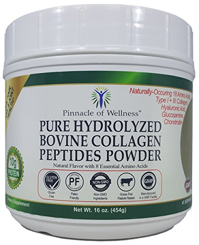 Bovine Collagen - Pinnacle of Wellness Pure Hydrolyzed Bovine Collagen Peptides Powder - Natural Flavor - 41 Servings 16.0oz (454g)