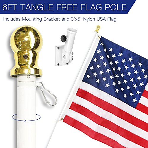 Anley 6 Feet Tangle-Free Flagpole Kit, Aluminum Spinning Wall Mount Flag Pole with USA Flag and Mounting Bracket– Heavy Duty, Weather Resistant & Rust Free – White - Flagpole Bracket Wall Mount