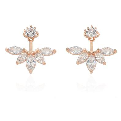 Amazoncom megko Fashion Lady Clear Crystal Leaf Feather Ear