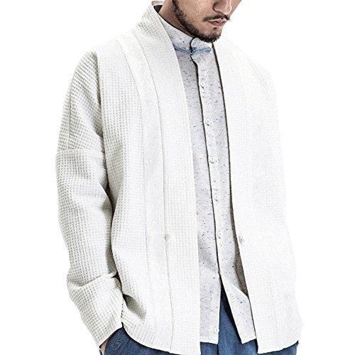 Kung Fu Smith Men Vintage Tai Chi Silk Satin Patchwork Cardigan Coat, White XL (Silk Kung Fu Shirt)