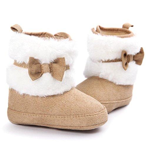 Tefamore Zapatos niños, botas de nieve suave y suave marrón