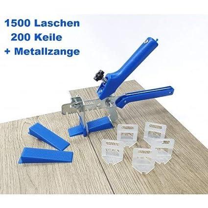 Zange Fliesen Nivelliersystem Blau Fliesenst/ärke 3-12 mm Maxi-Set 2,5 mm 1500 Laschen 200 Keile Verlegesystem Fliesenverlegung Fliesenverlegehilfe Fliesenverlegesystem Fliesennivelliersystem