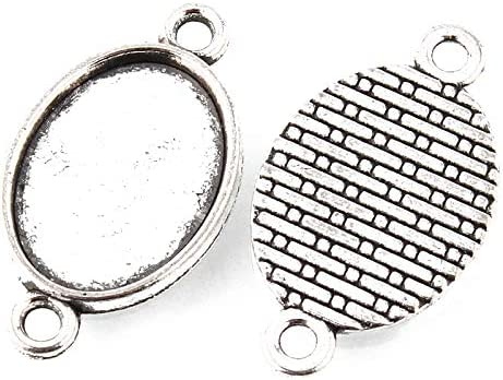 20pcs 20mm antiqued silver plated round bezel connector blanks