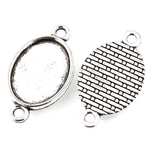 Pandahall 50pcs Vintage Tibetan Style Antique Silver Blank Bezel Cabochon Settings 18x13mm Inner Diameter Oval Frame Pendant Tray Chandelier Link Connector Charms ()