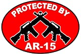 1Pc Famed Fashionable Protected by AR-15 Stickers Signs Anti-Burglar Security Assault Rifle Size 3.5