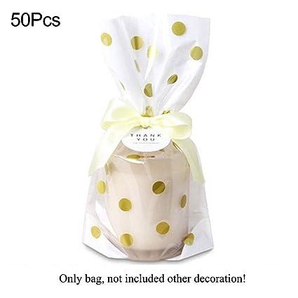 Woopower Bolsa para galletas de caramelos, 50 unidades, diseño de lunares y rayas de oro de lujo, bolsas de embalaje de regalo para festivales Tamaño ...