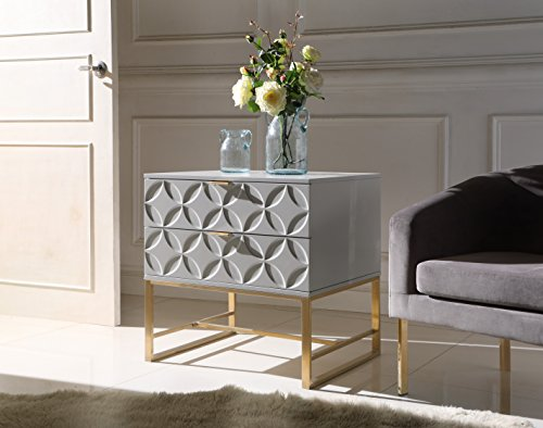 (Iconic Home Mantau Nightstand Side Table with 2 Self Closing Lacquer Drawers Brass Finished Stainless Steel Frame Base, Modern Contemporary,)