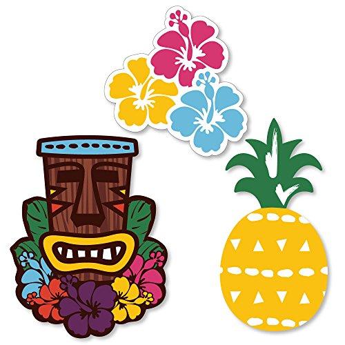 Big Dot of Happiness Tiki Luau - DIY Shaped Tropical Hawaiian Summer Party Cut-Outs - 24 Count - Luau Cut Outs