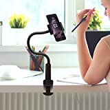 Aduro Solid-Grip 360 Adjustable Universal Gooseneck Smartphone Stand for Desk – Durable, Rubberized, Mount w/ Holder (Black)