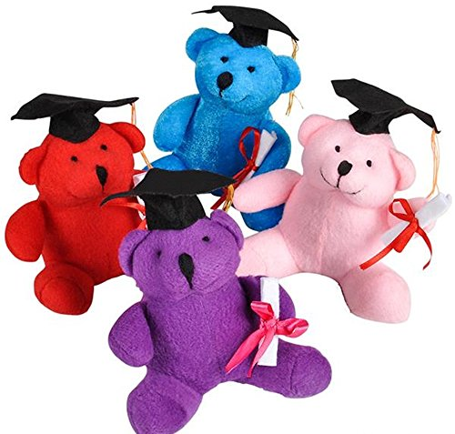 Price comparison product image Lot Of 12 Assorted Color Graduation Theme Mini Teddy Bears With Diploma