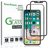 iPhone X Screen Protector Glass, amFilm Apple iPhone 10 Full Screen Glass Screen Protector 3D Curved with Full Screen Adhesive and Application Tray for iPhone X 0.3mm (1-Pack)